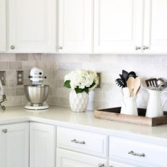 Subway Tiles In Kitchen Black Chairs How To Install A Marble Tile Backsplash Just Girl And Her Diy Tiling Tips