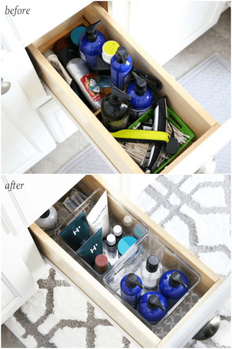 I'm sharing all of my favorite master bathroom organization ideas and some easy updates that we've done to take our master bathroom from cluttered and boring to organized and beautiful! | bathroom organization, organized bathroom vanity, how to organize a bathroom, how to organize deep vanity drawers, organized hair supplies, shaving tools organization, change out builder grade mirrors for wooden framed mirrors, before and after drawer