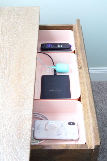 DIY Charging Station in Nightstand Drawer