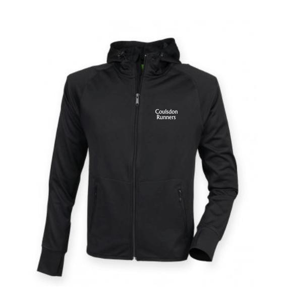 coulsdon runners hoodie jacket black front
