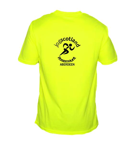 jog scotland mens tshirt electric yellow back