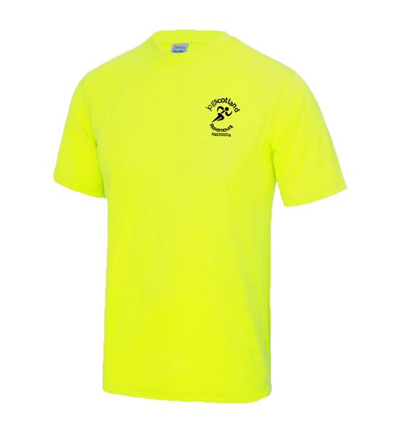 jog scotland mens tshirt electric yellow front