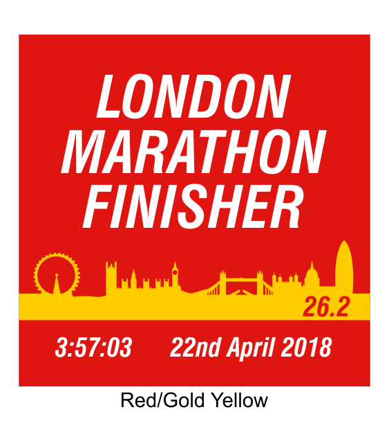 london marathon finisher coaster skyline red