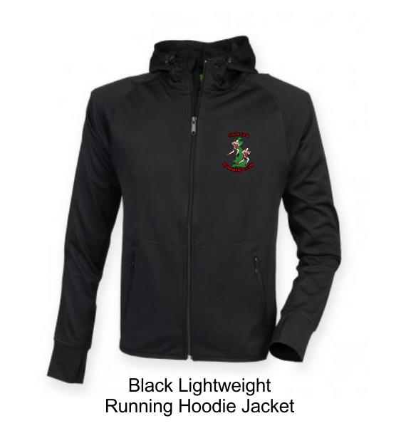 swinton running hoodie jacket black front