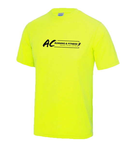 AC running mens electric yellow t-shirts front