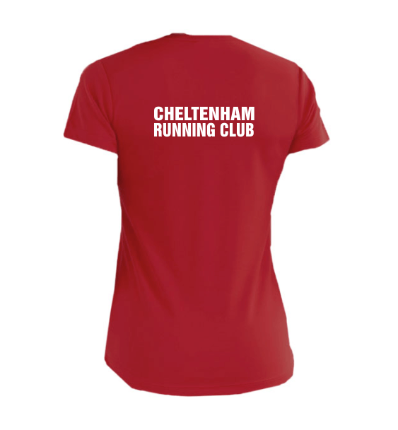 cheltenham running club ladies tshirt red back