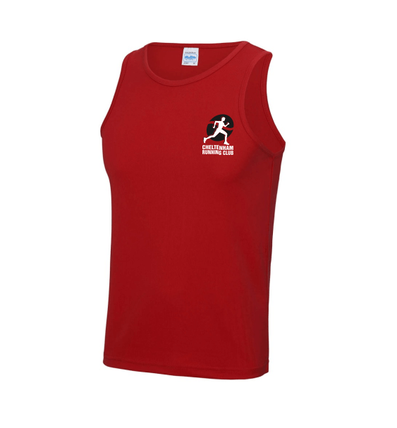 cheltenham running club mens vest red