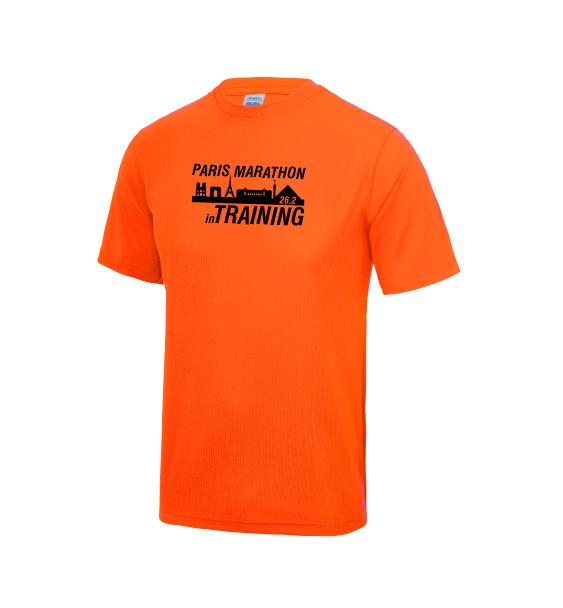 Paris-in-Training-Marathon-mens-tshirt-orange
