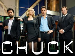 CHUCK -- Season:5 -- Pictured: (l-r) Joshua Gomez as Morgan Grimes, Yvonne Strahovski as Sarah Walker, Zachary Levi as Chuck Bartowski, Adam Baldwin as John Casey -- Photo by: Mitchell Haaseth
