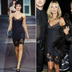 Louis Vuitton silk slip taken straight from the runway to the street by ultimate queen of cool Kate Moss