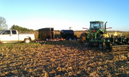 Fueling up the 8520T while chisel plowing