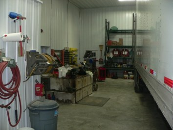 Seed trailer in shop