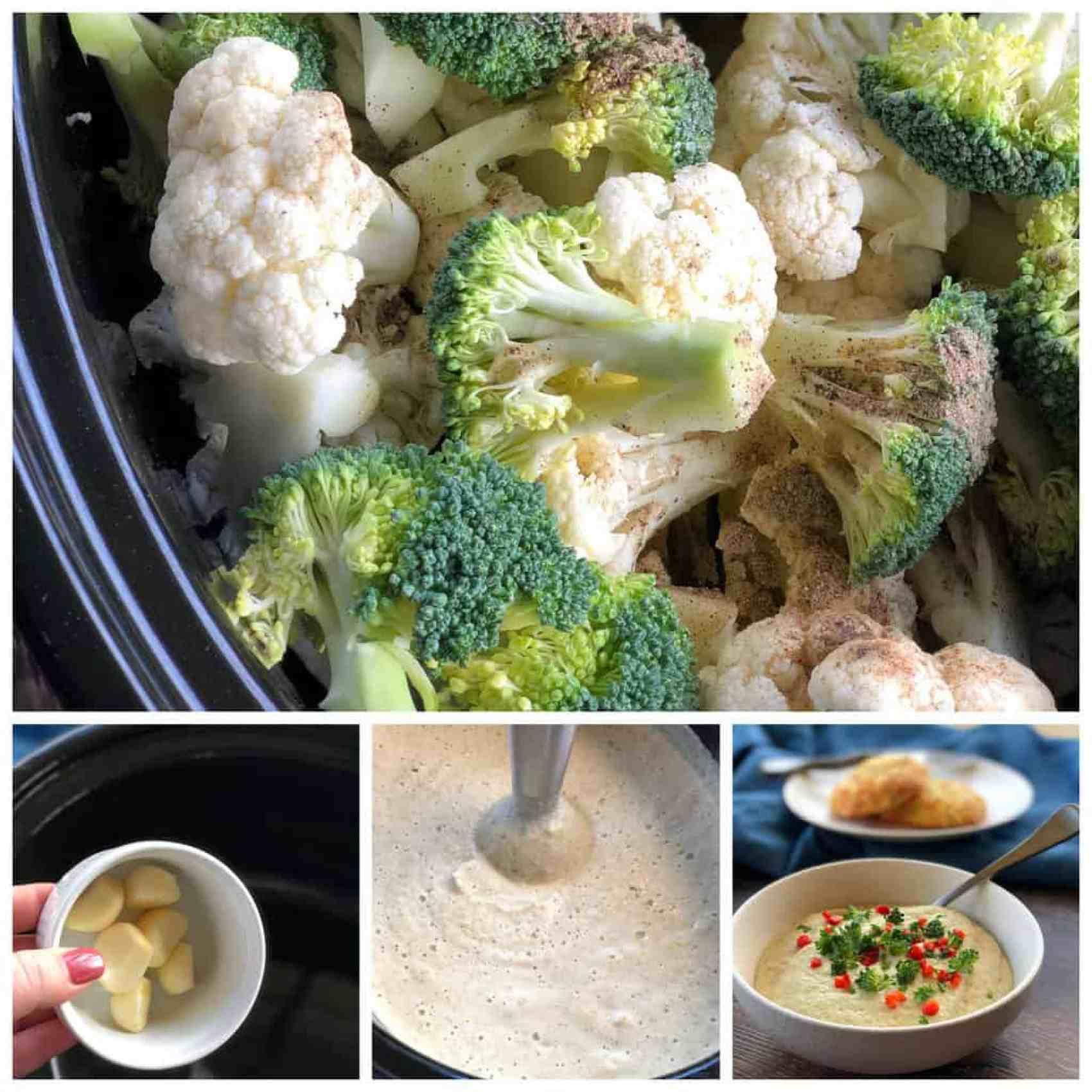 Slow Cooker Winter Cauliflower Broccoli Soup