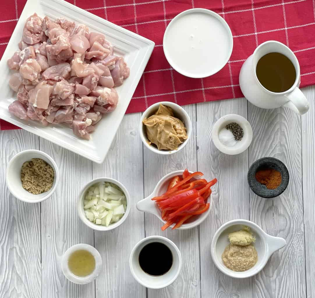 Ingredients for Slow Cooker Satay Chicken prepared for cooking