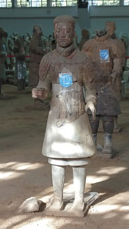 A Terracotta Warrior with the remnants of its original paint