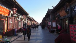 The streets of Pingyao, with lots of shops and restaurants