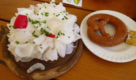 A favorite Bavarian Brotzeit - a giant radish and a pretzel!