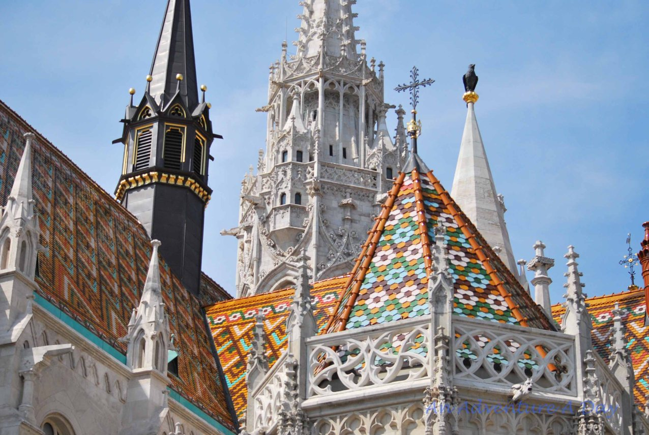 The spectacular roof of Matthias Church in Budapest.