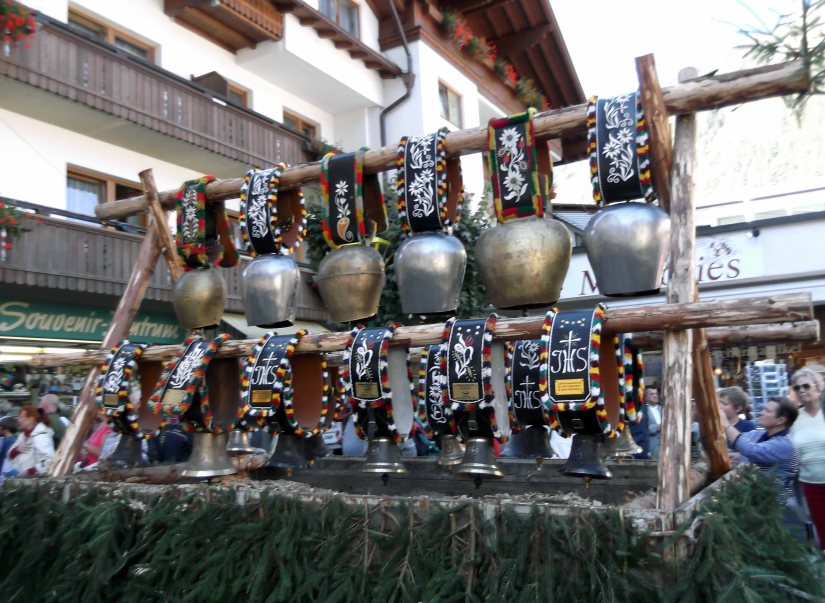 A display of cowbells in the Mayrhofen Almabtrieb