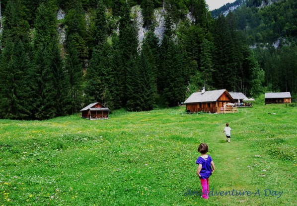 Sometimes you find an Alpine meadow with a hut, serving snacks.