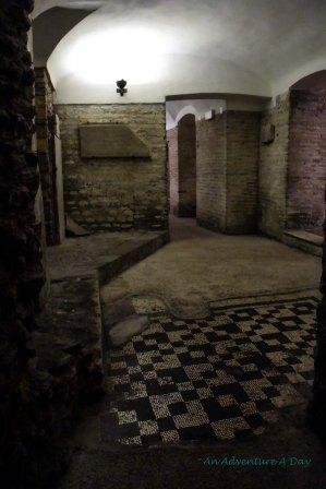 The partially excavated rooms beneath Santa Cecelia