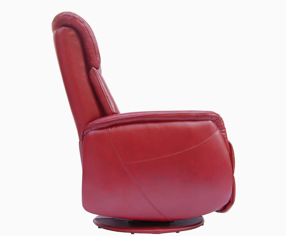 Ramsey Red Bonded Leather Swivel Recliner Chair