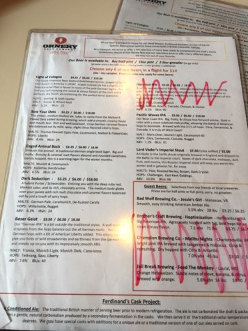 Beer Menu - our waitress crossed out the non-Ornery beers and the one Ornery that wasn't available that day