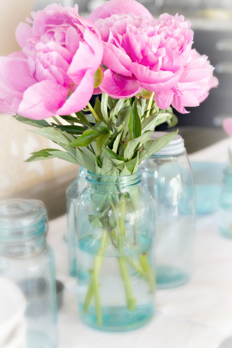 Vintage Teal Blue Mason Jar Tablescape  Just a Smidgen