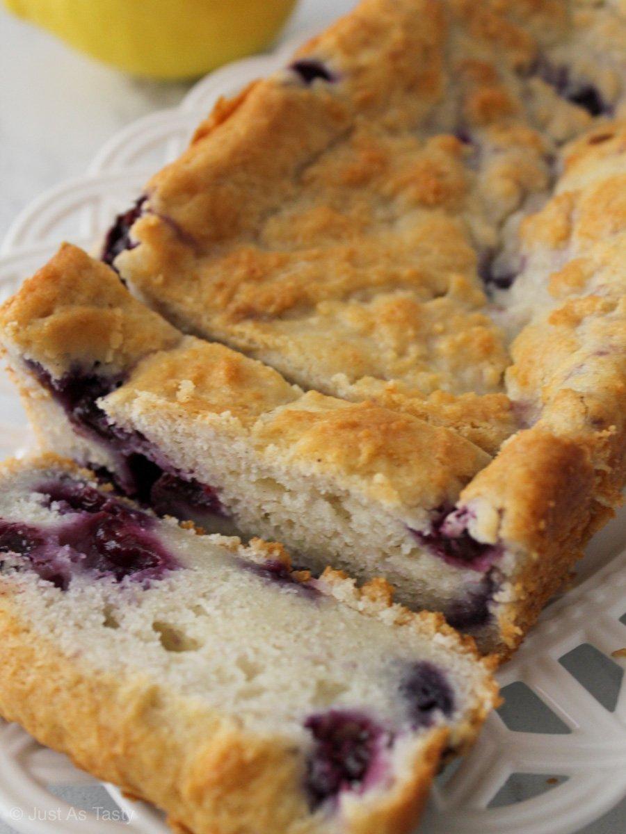 Sliced lemon blueberry loaf
