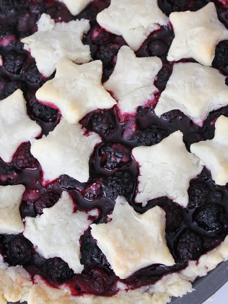 Blackberry pie topped with star cut-outs