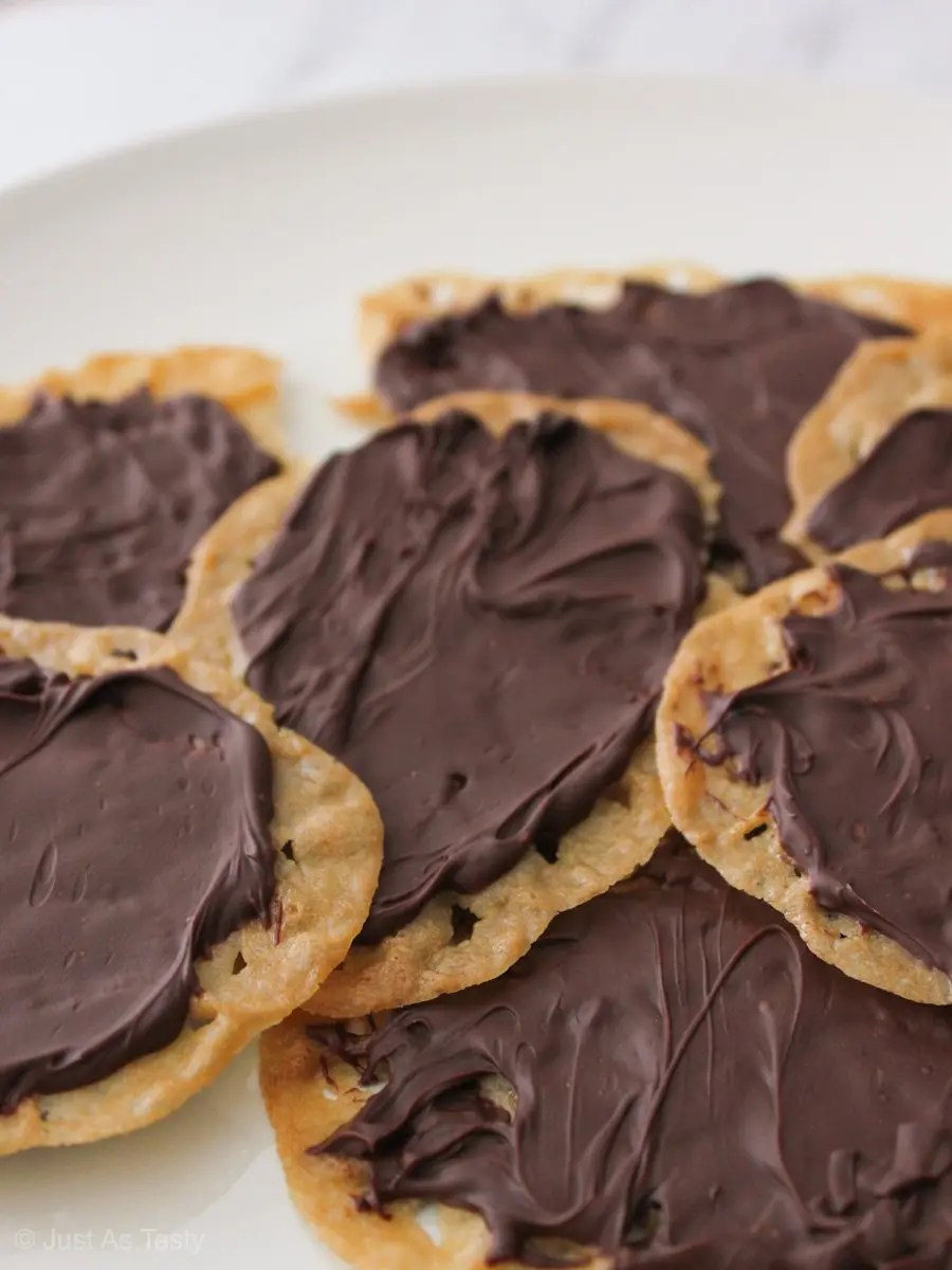 Pile of chocolate covered lace cookies