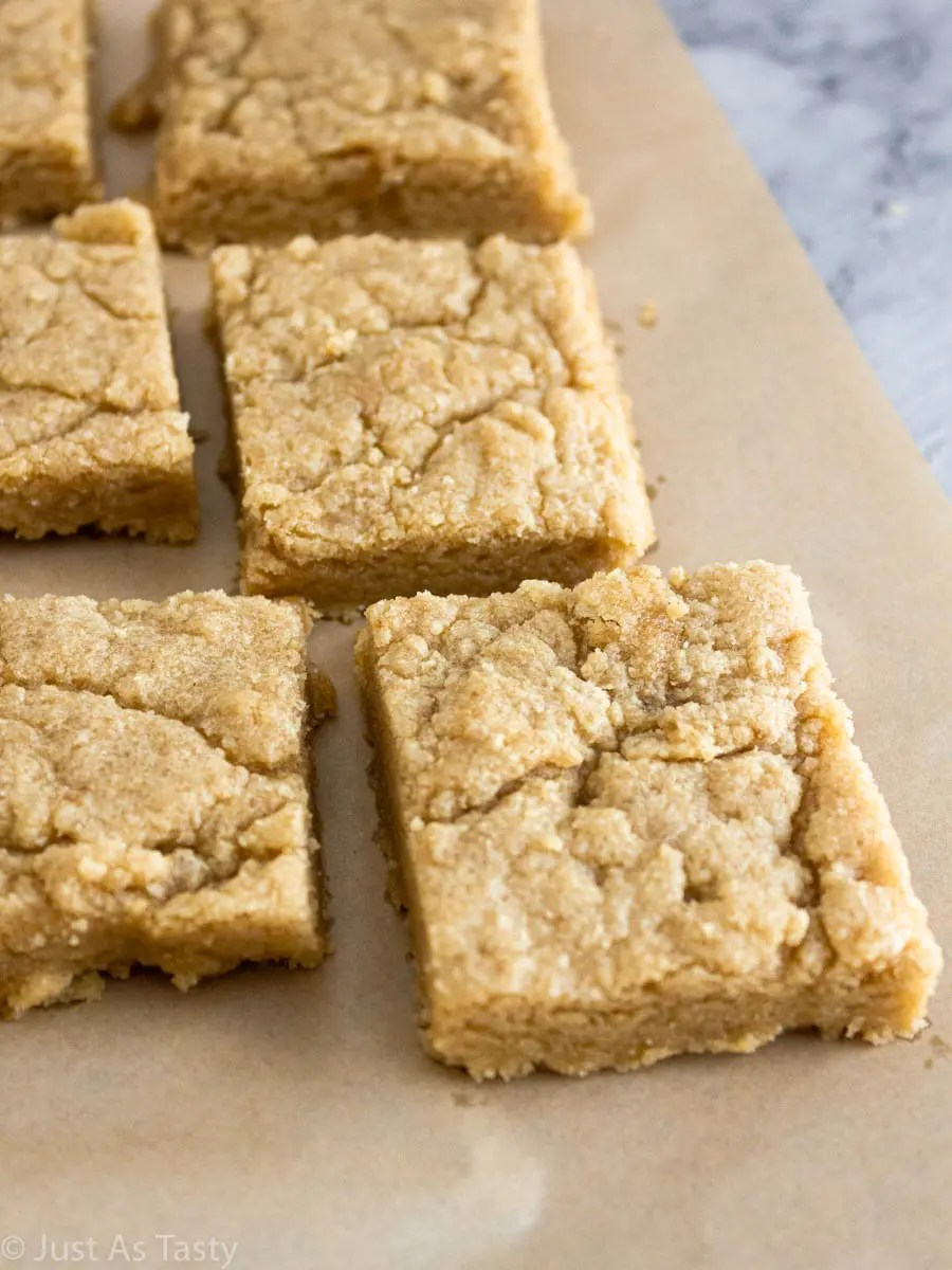 Eggless blonde brownies on parchment paper