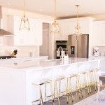 White And Gold Kitchen Gold Lantern Pendant Lights Acrylic Bar Stools With Gold Legs Just A Tina Bit