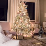 Justatinabit Pink Gold White Christmas Decorations 2019 Home Tour Flocked Christmas Tree Seattle Home Blogger 13 Just A Tina Bit