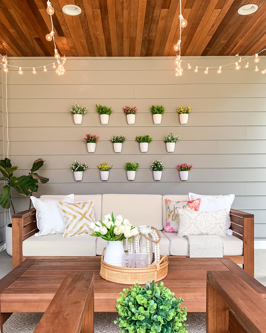 justatinabit diy plant wall patio
