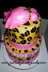 Cheetah print / Pink Baby Shower Cake