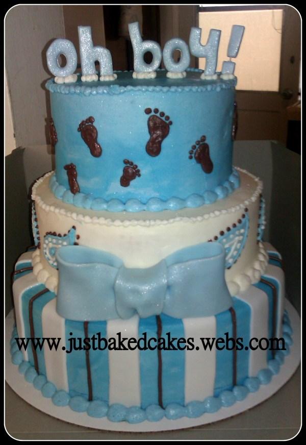 Baby Boy Blue Feet Shower Cake