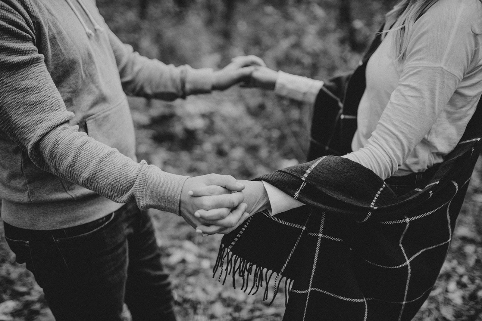 couple inter-locking fingers