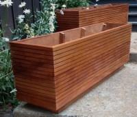 Rectangular Wooden Planter Boxes   Garden Design Ideas