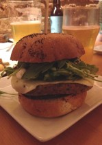 Seitan burger with vegan cheese