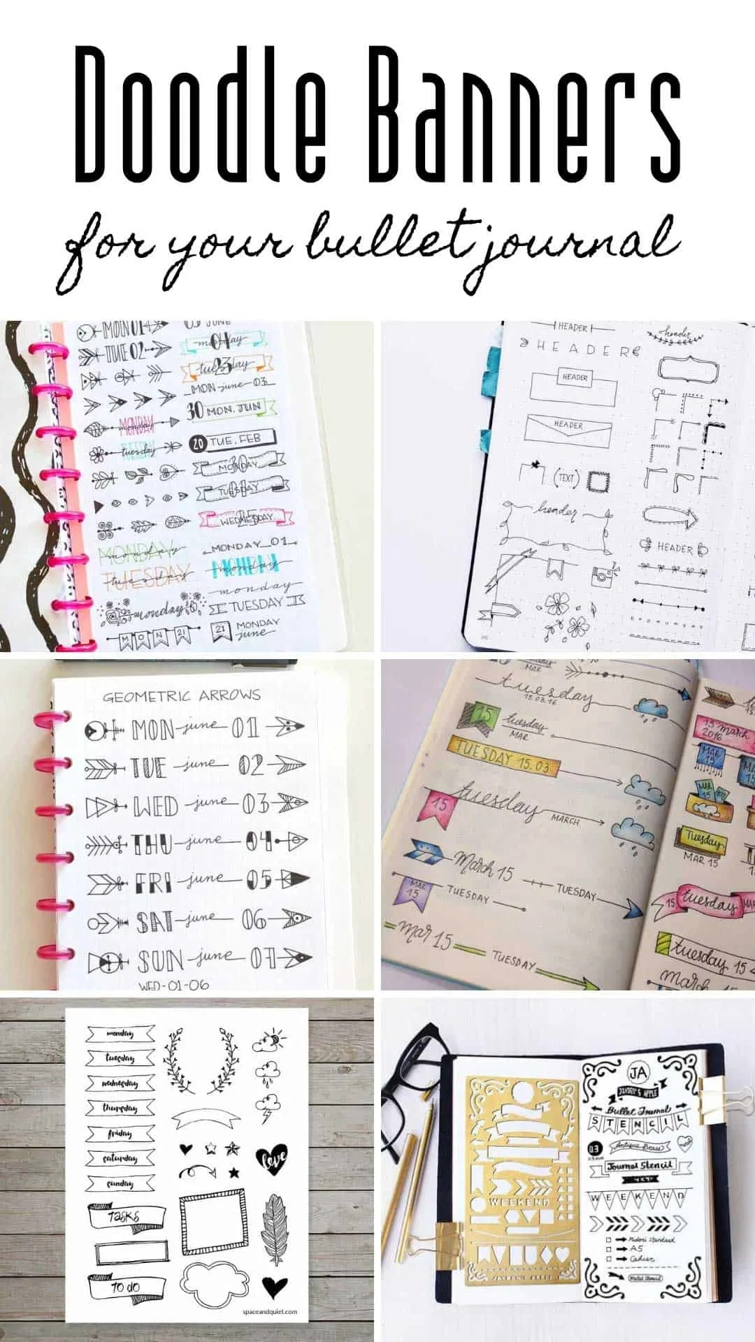 gorgeous bullet journal banners
