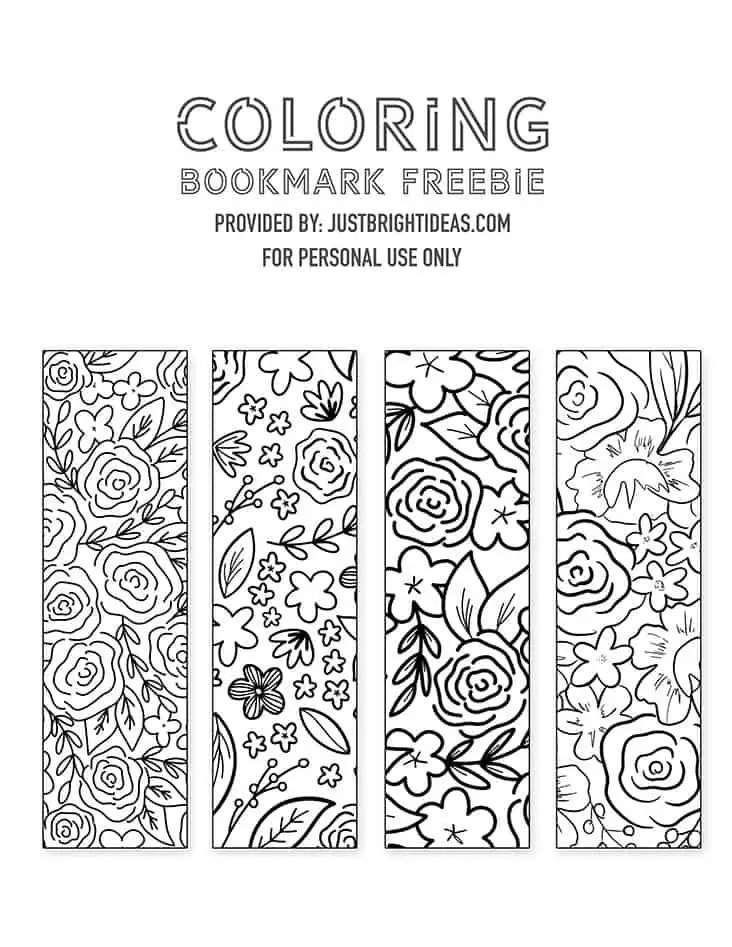 Free Printable Floral Bookmarks You Can Print Out and Color In