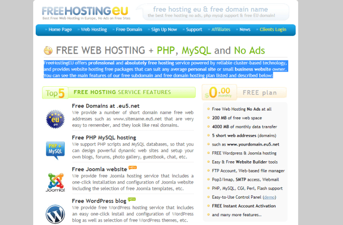 Top 10 Free Web Hosting Service to Start WordPress Blog