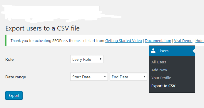 How to Export WordPress Users data to CSV file