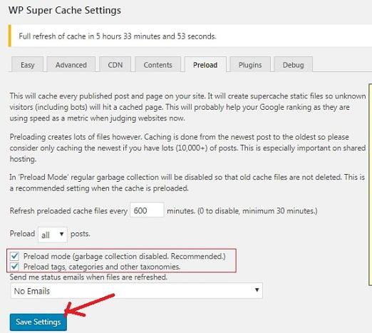 WP Super Cache Plugin Settings