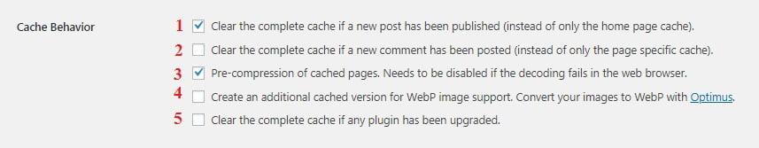 Cache Enabler Plugin Settings