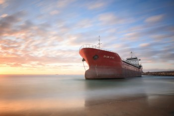 tanker ship and sunset