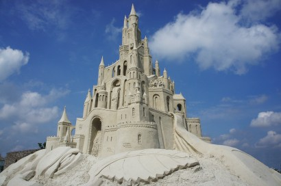 sand castle under the blue sky
