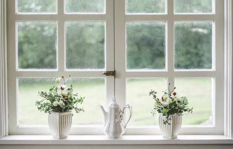 looking out a white window sill with plants
