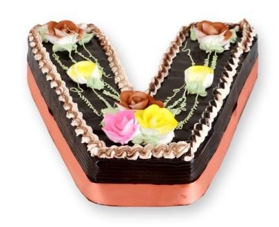 V Alphabet Shaped Cake